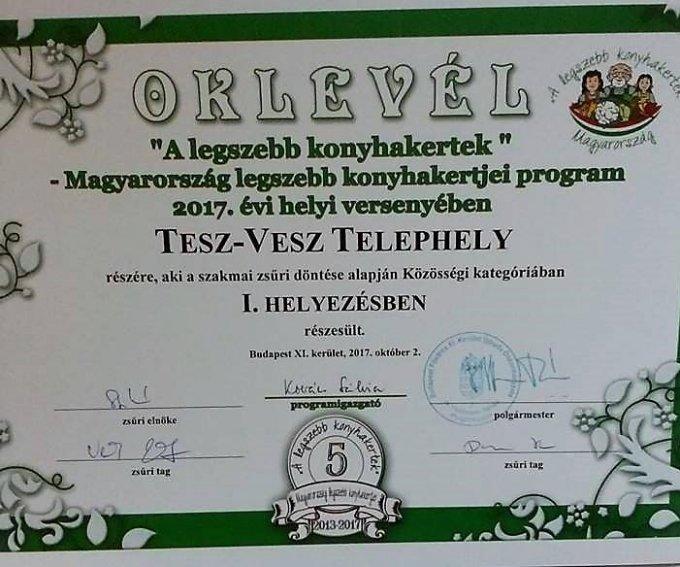 """A Tesz-Vesz Óvoda telephely elnyerte """"A legszebb közösségi kert"""" díjat"""